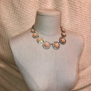 Diamond and Peach roses statement necklace.